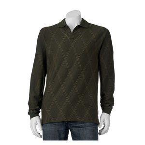 *5/$20* NWT Haggar Mens Small LS Polo Shirt Green
